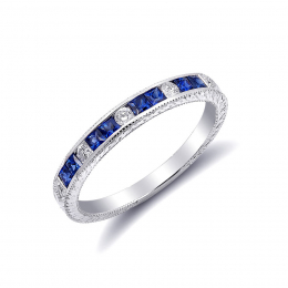 Natural Blue Sapphires 0.41 carats set in 18K White Gold with 0.10 carats  Diamonds