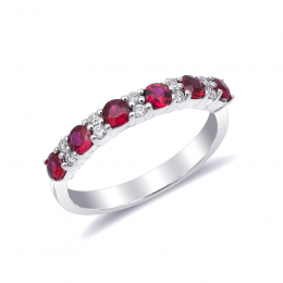 Natural Rubies 0.54 carats set in 14K White Gold Stachable Ring / Wedding Band with 0.11 carats  Diamonds