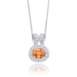 Natural Mandarin Garnet 0.56 carats set in 14K White Gold Pendant with 0.10 carats Diamonds