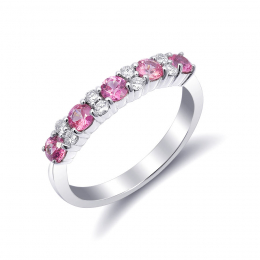 Natural Pink Sapphires 0.72 carats set in 14K White Gold Stackable Ring / Wedding Band with 0.18 carats Diamonds