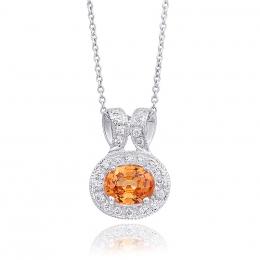Natural Mandarin Garnet 0.83 carats set in 14K White Gold Pendant with 0.15 carats Diamonds