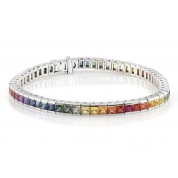Natural Rainbow Multi Color Sapphires 10.12 carats set in 14K White Gold Bracelet