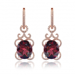 Natural Rhodolite Garnet 10.27 carats set in 14K Rose Gold Earrings with 0.48 carats Diamonds