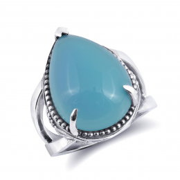 """""""Paraiba"""" color Agate 11.76 carats set in Silver Ring"""