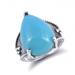 """""""Paraiba"""" color Agate 12.12 carats set in Silver Ring"""