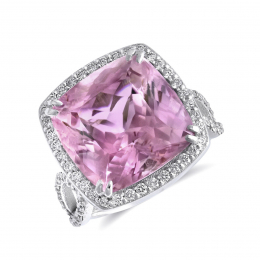 Natural Kunzite 14.01 carats set in 14K White Gold Ring with 0.76 carats Diamonds