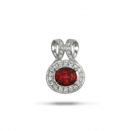 Natural Red Spinel 0.75 carats set in 14K White Gold Pendant with 0.15 carats Diamonds
