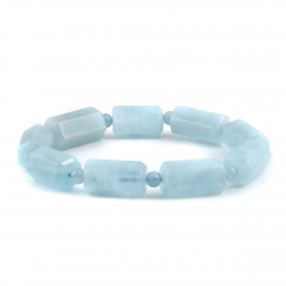 Untreated Natural Aquamarine 175.51 carats Faceted Tube Shape Beads Bracelet Strong with Expandable Silk Thread