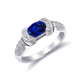 Natural Blue Sapphire 1.00 carat set in 18K White Gold Ring with 0.30 carats Diamonds