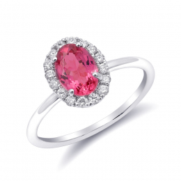 Natural Neon Tanzanian Spinel 1.08 carats set in 14K White Gold Ring with 0.18 carats Diamonds