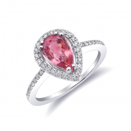 Natural Neon Tanzanian Spinel 1.12 carats set in 14K White Gold Ring with 0.21 carats Diamonds