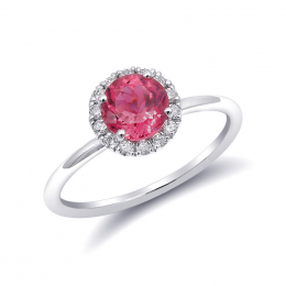 Natural Neon Tanzanian Spinel 1.20 carats set in 14K White Gold with 0.15 carats Diamonds