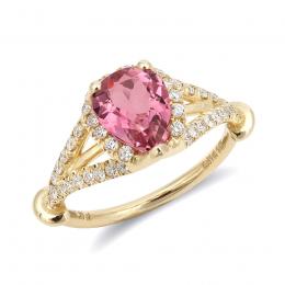 Natural Pink Tourmaline 1.31 carats set in 14K Yellow Gold Ring with 0.41 carats Diamonds