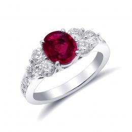 Natural Burma Ruby 1.34 carats set in Platinum Ring with 0.82 carats Diamonds / GIA Report & video