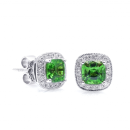 Natural Tsavorite 1.59 carats set in 14K White Gold Earrings with 0.20 carats Diamonds