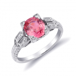 Natural Unheated Padparadscha Sapphire 1.60 carats set in Platinum Ring with 0.17 carats Diamonds / GRS Report