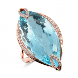 Natural Sky Blue Topaz 23.95 carats set in 18K Rose Gold Ring with 0.20 carats Diamonds