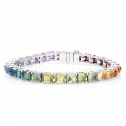 Natural Precious Stones 24.61 carats set in 18K White Gold Bracelet / video