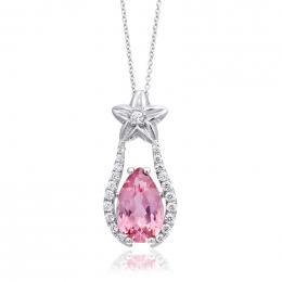 Natural Pink Tourmaline 2.05 carats set in 14K White Gold Pendant with 0.21 carats Diamonds