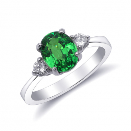 Natural Tsavorite 2.08 carats set in 18K White Gold Ring with 0.24 carats Diamonds