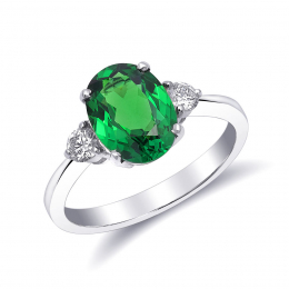Natural Tsavorite 2.13 carats set in 18K White Gold Ring with 0.22 carats Diamonds