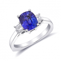 Natural Blue Sapphire 2.17 carats set in 14K White Gold Ring with 0.33 carats Diamonds
