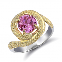 Natural Unheated Pink Sapphire 2.24 carats set in 18K White and Yellow Gold Ring with 2.74 carats of Yellow Diamonds / GIA Report