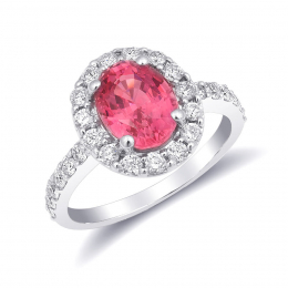 Natural Neon Tanzanian Spinel 2.36 carats set in 14K White Gold Ring with 0.73 carats Diamonds