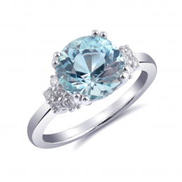 Natural Aquamarine 2.40 carats set in 14K White Gold Ring with 0.24 carats Diamonds