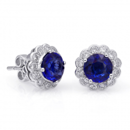 Natural Blue Sapphires 2.42 carats set in 18K White Gold Earrings with 0.55 carats Diamonds