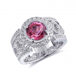 Natural Pink Sapphire 2.55 carats set in 18K White Gold Ring with 1.11 carats Diamonds / GIA Report