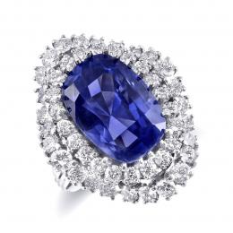 Rare Fine Unheated Cornflower Blue Sapphire 13.32 carats from Sri Lanka set in Platinum Ring with 1.96 carats Diamonds / GIA Report
