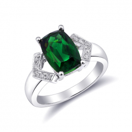 Natural Chrome Tourmaline 3.00 carats set in 18K White Gold Ring with 0.09 carats Diamonds