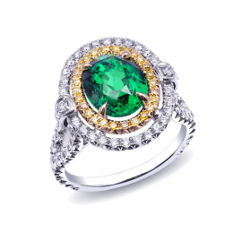 Natural Tsavorite 3.07 carats set in Platinum Ring with 0.97 carats Yellow and White Diamonds / GIA Report