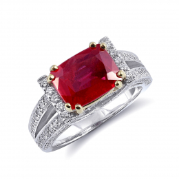 Natural Unheated Tanzanian Ruby 3.10 carats set in 18K Two Tone Ring with 0.91 carats Diamonds / GIA Report