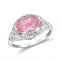 Natural Unheated Padparadscha Sapphire 3.17 carats set in Platinum Ring with 0.44 carats Diamonds / GRS Report