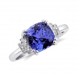 Natural Tanzanite 3.21 carats set in 14K White Gold Ring with 0.24 carats Diamonds