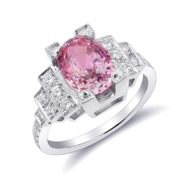 Natural Heated Padparadscha Sapphire 3.22 carats set in Platinum Art Deco Ring with 0.56 carats Diamonds / GRS Report
