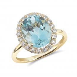 Natural Aquamarine 3.54 carats set in 14K Yellow Gold Ring with 0.38 carats Diamonds