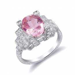 Natural Heated Padparadscha Sapphire 3.61 carats set in Platinum Art Deco Ring with 0.54 carats Diamonds / GRS Report