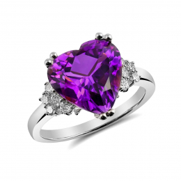 Natural Amethyst 3.55 carats set in 14K White Gold Ring with 0.24 carats Diamonds