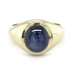 Natural Burma Blue Star Sapphire 4.08 carats set in 14K Yellow Gold Men's Ring