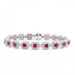 Natural Rubies 4.19 carats set in 18K White Gold Bracelet with 1.54 carats Diamonds
