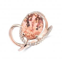 Natural Orange-Pink Tourmaline 4.66 carats set in 14K Rose Gold Ring with 0.19 carats Diamonds