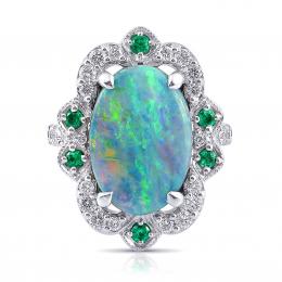 Australian Boulder Opal multi color oval shape 5.24 carats with Diamonds 0.81 and Emeralds 0.61 carats