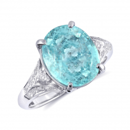 """Natural Copper Bearing Mozambique """"Paraiba""""-type Tourmaline 5.34 carats set in 18K White Gold Ring with 0.31 carats Diamonds / GIA Report"""