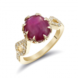 Burma Star Ruby 5.45 carats set in 14K Yellow Gold Ring with 0.22 carats Diamonds / GIA Report