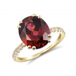 Natural Rhodolite Garnet 5.77 carats set in 14K Yellow Gold Ring with 0.25 carats Diamonds