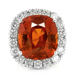 Natural Spessartite Garnet 18.48 carats set in 18K White Gold Ring with 3.22 carats Diamonds