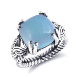 """""""Paraiba"""" color Agate 6.42 carats set in Silver Ring"""